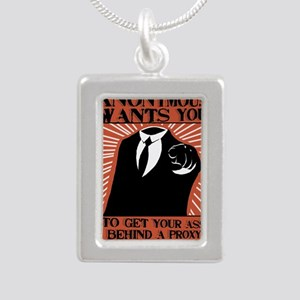 Anonymous 99% Occupy t-s Silver Portrait Necklace