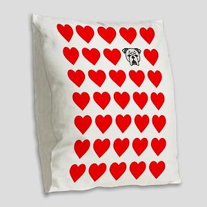 Lots of Bulldog Love Burlap Throw Pillow