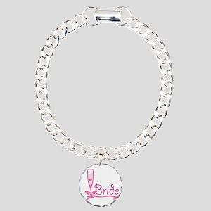 Bride Wine Glass Charm Bracelet, One Charm