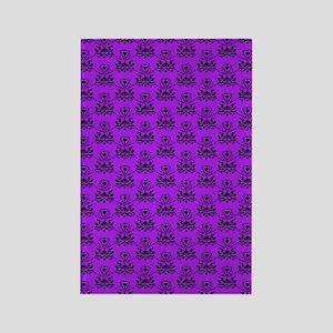 Damask Pattern Purple and Black Rectangle Magnet