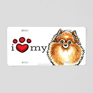 Love My Pomeranian Aluminum License Plate