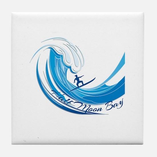 Half Moon Bay California Surfing Tile Coaster