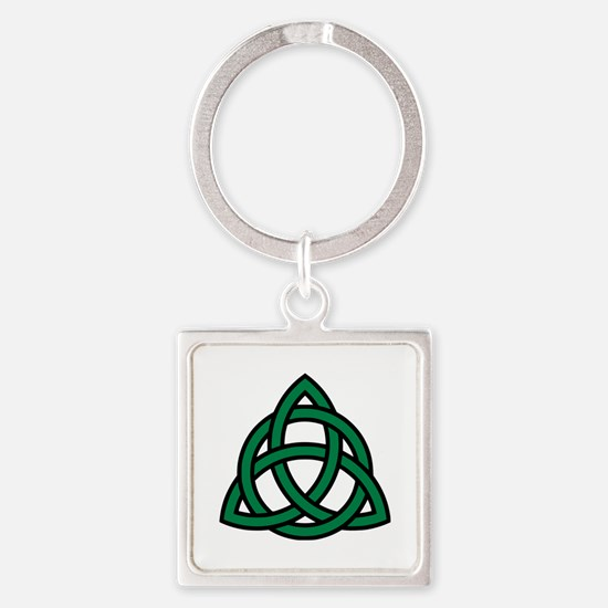 Green Celtic knot Square Keychain
