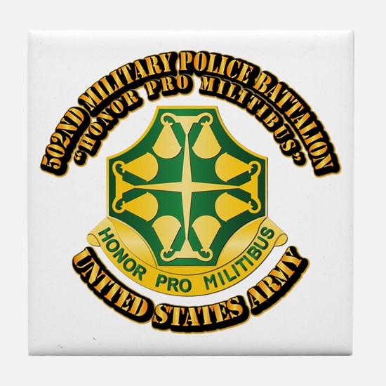 502nd Military Police Bn with Text Tile Coaster
