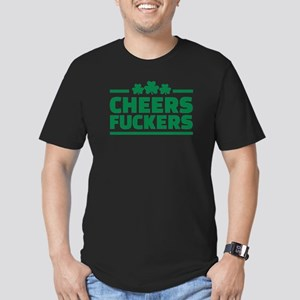 Cheers fuckers shamrocks Men's Fitted T-Shirt (dar