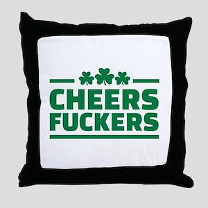 Cheers fuckers shamrocks Throw Pillow