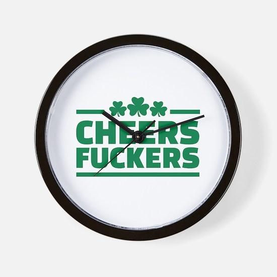 Cheers fuckers shamrocks Wall Clock