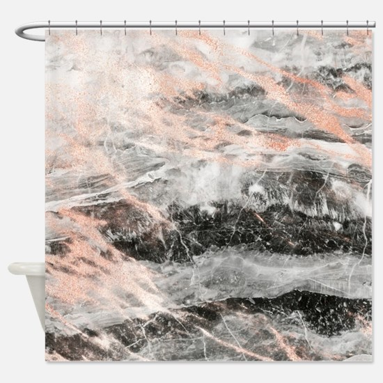 Rose Gold Marble Stone Shower Curtain