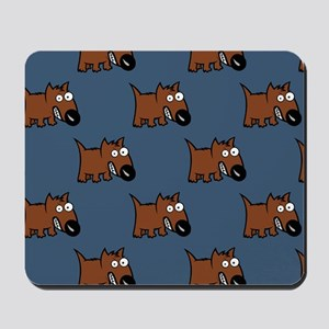 Cute Angry Brown Dog on Teal Mousepad