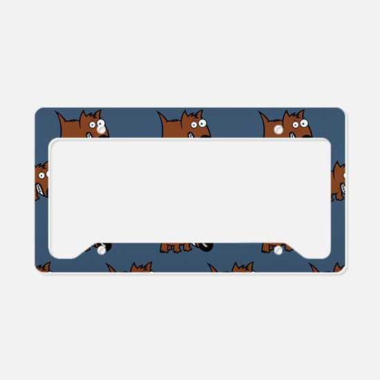 Cute Angry Brown Dog on Teal License Plate Holder