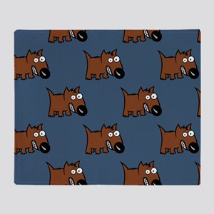 Cute Angry Brown Dog on Teal Throw Blanket