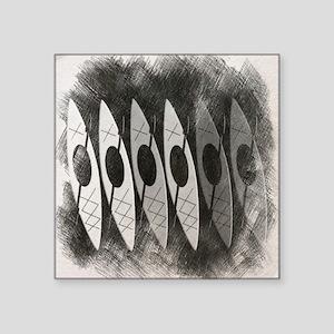 "kayak pencil sketch Square Sticker 3"" x 3"""