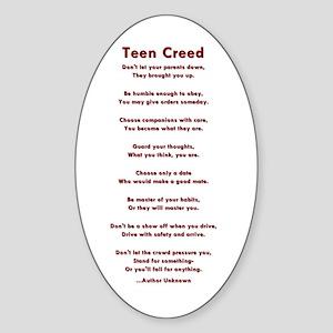 Teen Creed Oval Sticker