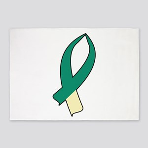 Awareness Ribbon (Teal & Cream) 5'x7'Area Rug