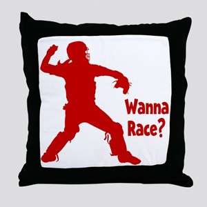 red Wanna Race Throw Pillow