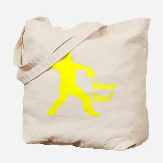 yellow Wanna Race on black Tote Bag