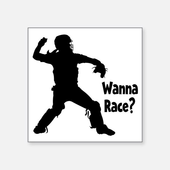 "black Wanna Race on black Square Sticker 3"" x 3"""