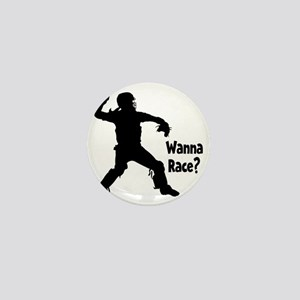 black Wanna Race on black Mini Button