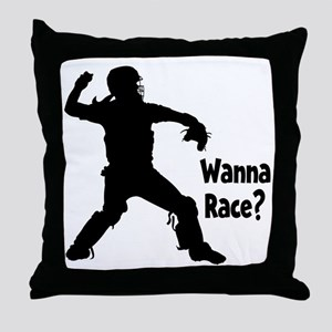 black Wanna Race on black Throw Pillow