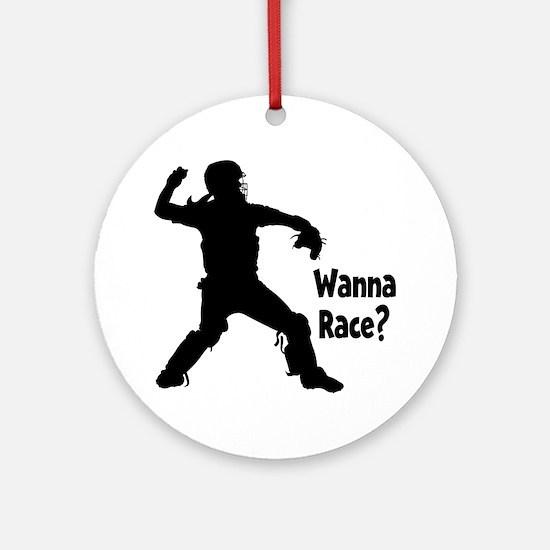 black Wanna Race on black Round Ornament