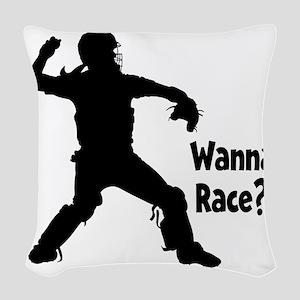 black Wanna Race on black Woven Throw Pillow