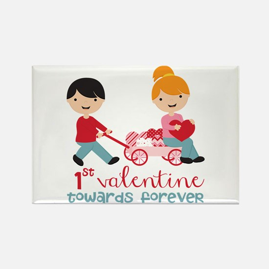 1st Valentines Day Together Rectangle Magnet (10 p