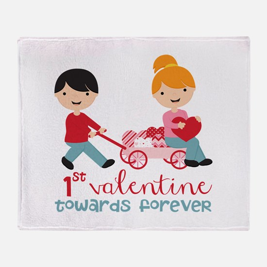 1st Valentines Day Together Throw Blanket