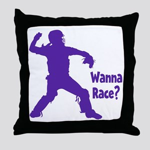 purple Wanna Race Throw Pillow