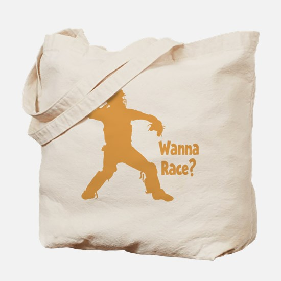 gold Wanna Race on black Tote Bag