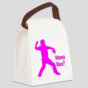 pink Wanna Race Canvas Lunch Bag