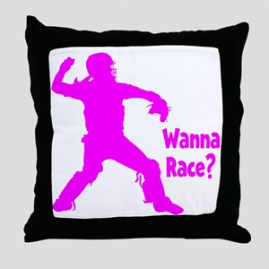 pink Wanna Race Throw Pillow
