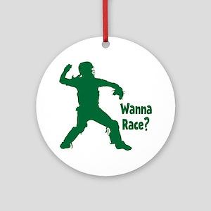 green Wanna Race Round Ornament