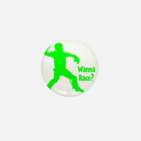 green2 Wanna Race on black Mini Button
