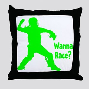 green2 Wanna Race on black Throw Pillow