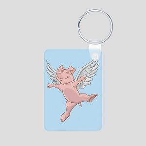 Flying Pig Aluminum Photo Keychain