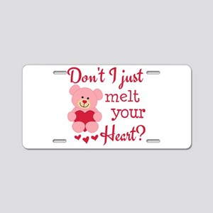 Bear Heart Melt Aluminum License Plate