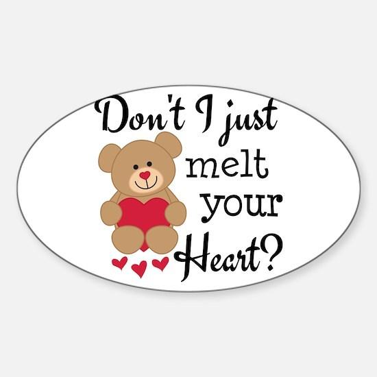 Bear Heart Melt Sticker (Oval)