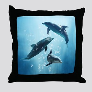 Dolphins in the Sea Throw Pillow