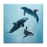 Dolphins in the Sea Tile Coaster