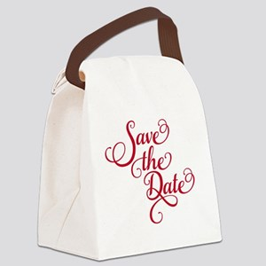 Save the date, text design, word  Canvas Lunch Bag