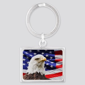 Patriotic Red White and Blue Landscape Keychain