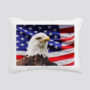 Patriotic Red White and  Rectangular Canvas Pillow
