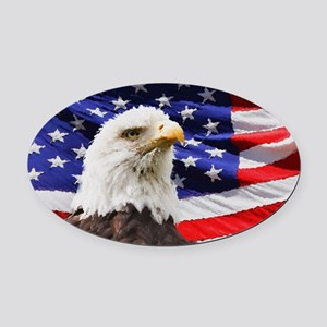 Patriotic Red White and Blue Oval Car Magnet