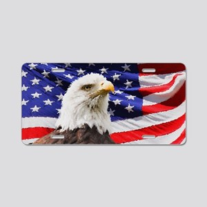 Patriotic Red White and Blu Aluminum License Plate