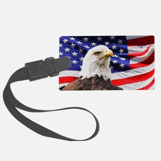 Patriotic Red White and Blue Large Luggage Tag