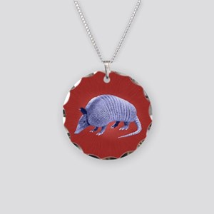 Purple Armadillo on Red Necklace Circle Charm