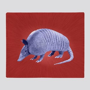 Purple Armadillo on Red Throw Blanket