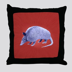 Purple Armadillo on Red Throw Pillow