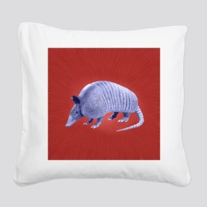 Purple Armadillo on Red Square Canvas Pillow