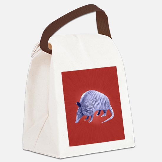 Purple Armadillo on Red Canvas Lunch Bag